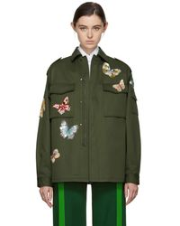 Valentino - Green Butterflies Military Jacket - Lyst