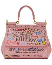 0817a47dad Dolce   Gabbana - Pink Small Graffiti Miss Sicily Bag - Lyst