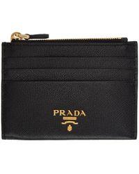 42530cf570db4b ... leather cardholder ee951 90012 cheap prada black saffiano zip card  holder lyst 532e0 c3f3c ...
