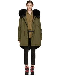 Mr & Mrs Italy - Green & Black Fur-lined Long Parka - Lyst