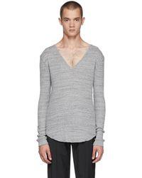 Balmain - Grey V-neck T-shirt - Lyst