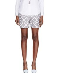 Maiyet - White Silk Printed Pleated Waist Shorts - Lyst