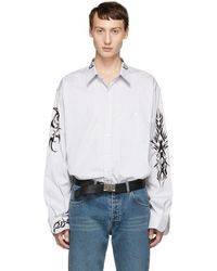 Vetements - Black And White Pinstriped Tattoo Shirt - Lyst