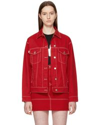 MSGM | Red Oversized Embroidered Denim Jacket | Lyst