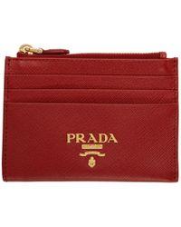 Prada - レッド サフィアーノ ジップ カード ホルダー - Lyst