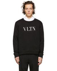 Valentino - Sweat-shirt en coton mélangé à imprimé logo Vltn - Lyst