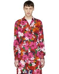 AMI - Red Floral Printed Shirt - Lyst