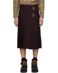 Burberry - Navy And Red Wool Arroux Kilt - Lyst