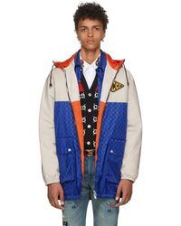 Gucci - Blue And Beige Jacquard GG Hooded Jacket - Lyst