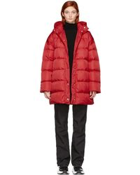 MSGM - Red Oversized Down Jacket - Lyst