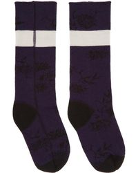 Haider Ackermann - Purple And Black Flower Socks - Lyst