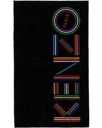 KENZO - ブラック ロゴ ビーチ タオル - Lyst