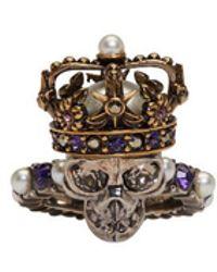 Alexander McQueen - Silver King Skull Ring - Lyst