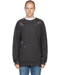 DIESEL - Grey Distressed K-lol Jumper - Lyst