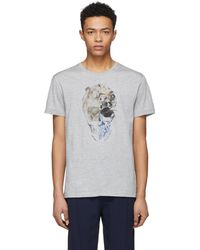 Alexander McQueen | Grey Split Skull T-shirt | Lyst