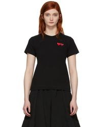 Play Comme des Garçons - Black And Red Double Hearts T-shirt - Lyst