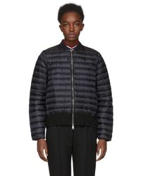 moncler black down knit peplum jacket