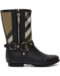 Burberry - Black And Beige Check Biker Rain Boots - Lyst