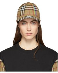 Burberry - Beige Rainbow Vintage Check Cap - Lyst