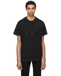 Givenchy - Black Perforated Logo T-shirt - Lyst
