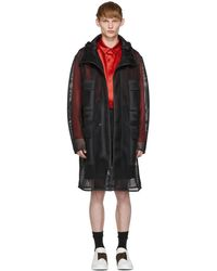 Fendi - Black Mesh Mania Hooded Coat - Lyst