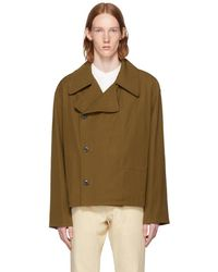 Lemaire - Tan Double-breasted Jacket - Lyst