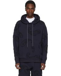 Wooyoungmi - Navy Paisley Embroidery Hoodie - Lyst