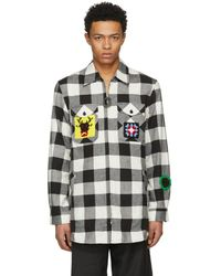 JW Anderson - Black And White Crochet Patches Lumberjack Shirt - Lyst