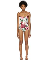Dolce & Gabbana - White Peonies Bustier Swimsuit - Lyst
