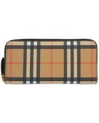 Burberry - Beige And Black Small Vintage Check Zip Wallet - Lyst