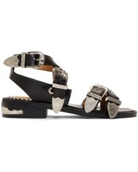 Toga Pulla - Black Four Buckle Western Sandals - Lyst