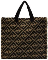 Fendi - Beige And Brown Shearling Forever Tote - Lyst