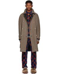 Gucci - Reversible Brown Wool Plaid Hunting Coat - Lyst