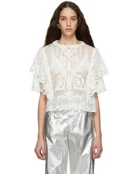 6098106b73 Isabel Marant White Kery Broderie Anglaise Blouse in White - Lyst