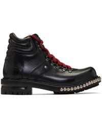 Alexander McQueen | Black Studded Hiking Boots | Lyst