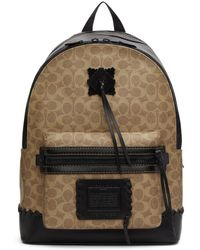COACH - Beige And Black Signature Academy Backpack - Lyst