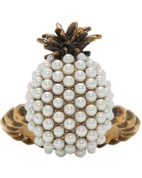 Gucci - Gold Small Pearl Pineapple Ring - Lyst
