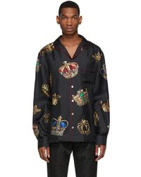 Dolce & Gabbana - Black Silk Crown Pyjama Shirt - Lyst