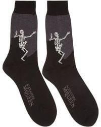 Alexander McQueen - Black And Grey Dancing Skeleton Socks - Lyst