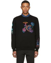 Paul Smith - Black All Over Floral Embroidery Sweatshirt - Lyst
