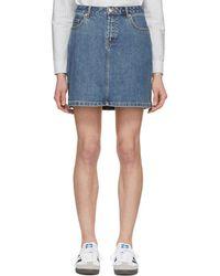 A.P.C. - Indigo Standard Washed Denim Miniskirt - Lyst