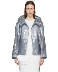 Jil Sander - Blue Plastic Coating Extreme Short Zipped Jacket - Lyst