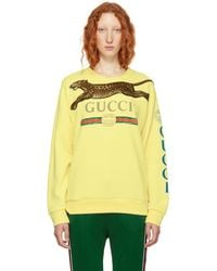 Gucci - Yellow Embroidered Leopard Logo Sweater - Lyst