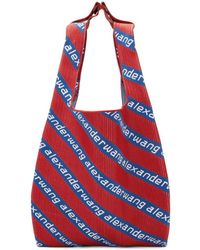 Alexander Wang - Red And Blue Knit Jacquard Shopper Tote - Lyst