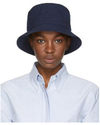 Thom Browne - Navy Lined Bucket Hat - Lyst