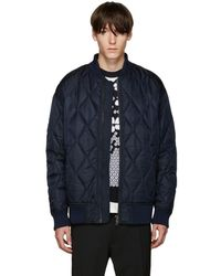 Diesel Black Gold - Navy Nylon Quilted Bomber Jacket - Lyst