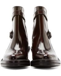 Yang Li - Burgundy Leather Ankle Boots - Lyst
