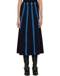 KENZO - Navy Embroidered Skirt - Lyst