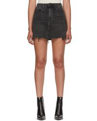 Alexander Wang - Grey Bite Denim Miniskirt - Lyst