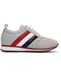 Thom Browne - Grey Tricolor Stripe Quilted Running Trainers - Lyst